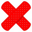 Two crossed red adhesive bandages - 9232631