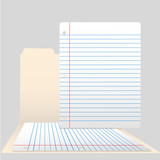 Pages of Ruled Notebook Paper in Open File Folder poster
