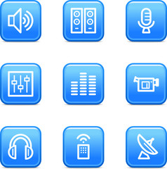 Media web icons, blue glossy buttons series