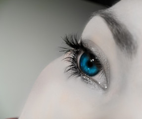 soft bright blue eye close up