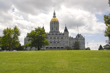 The golden-domed capitol building in Hartford Connecticut