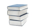 Pile of thick books isolated on white poster