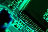 Electronics technology background in green poster