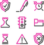 Administration web icons, pink contour series poster