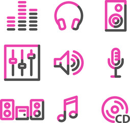 Sound web icons, pink contour series