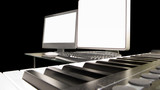 a computer music workstation and keyboard poster