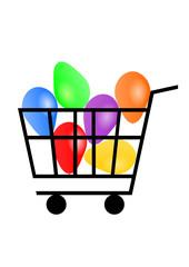 shopping cart, ball
