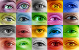 Fototapety Multi color human eye concept. Many different people eyes