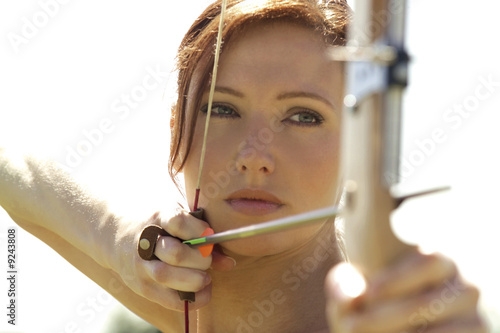 Female archer, close-up
