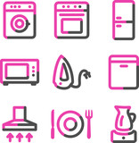 Home appliances web icons, pink contour series