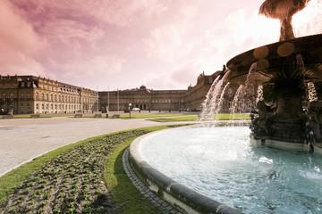 Deutschland, Stuttgart, Brunnen auf dem Schlossplatz