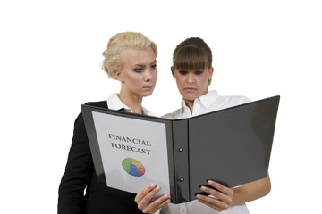 businessladies with financial report on isolated background