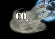 Carbon dioxide emissions and globe, digital composite
