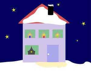 Haus in Weihnachtsbeleuchtung