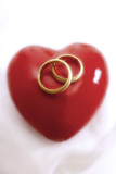 Wedding rings on heart