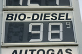 Price board at petrol station, close-up