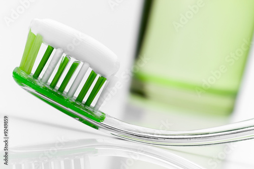 Dental care equipment on white table