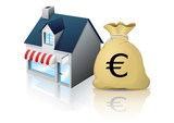 Petit commerce et son budget en Euro (reflet) poster