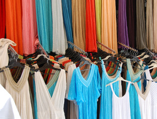 Colorful dresses outside a store in Athens