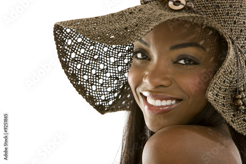 fashion girl portrait with hat - isolated