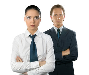Businesswoman and man, isolated on white background