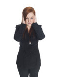 businesswoman in the Hear No Evil pose. poster
