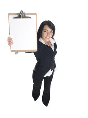businesswoman presenting a blank clipboard.