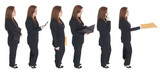 businesswoman standing in line with herself poster
