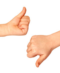 Two hands with thumbs up and down on white background