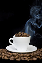 Cup of coffee beans close-up