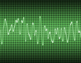 large image of an electronic sine sound or audio wave in green poster