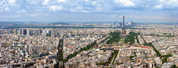 Paris aerial panoramic view from Montparnasse tower.