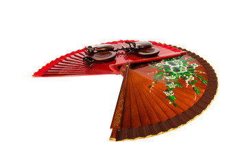 two fans and castanets on white background