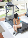 girl cries at a sports training apparatus... poster