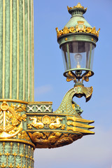 France, Paris:ancient 19th street lamp at Concorde square.