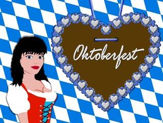 oktoberfest hintergrund - lebkuchenherz