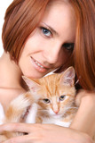 beautiful redhead girl with red fluffy kitten poster