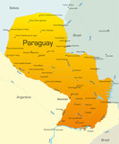 Abstract vector color map of Paraguay country poster