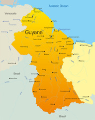 Abstract vector color map of Guyana country