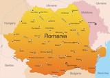 Abstract vector color map of Romania country poster