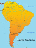 Abstract map of south america continent poster