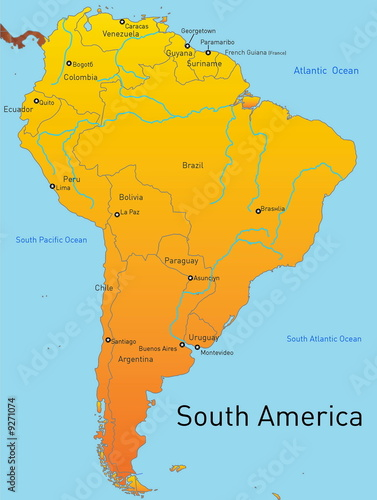 Abstract map of south america continent