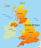 Abstract vector color map of Great Britain country poster
