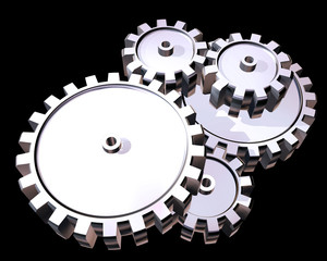 Illustration of highly polished interlocking cogs and gears