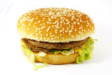 Hamburger Meal Isolated on a White Background poster