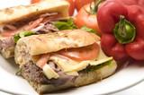 gourmet roast beef sandwich havarti cheese tomato rosemary bread poster