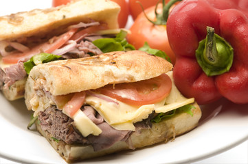 gourmet roast beef sandwich havarti cheese tomato rosemary bread