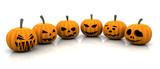 3D render of scary pumpkins poster