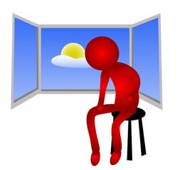 Persona sentada junto a la ventana