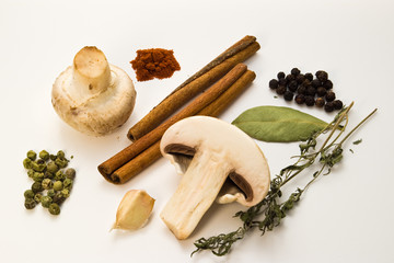 food spices and mushroom on white